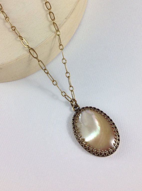 Large mother of pearl necklace. Natural pearl oval pendant. Vintage style jewelry. Long antique brass gold chain necklace on #Etsy