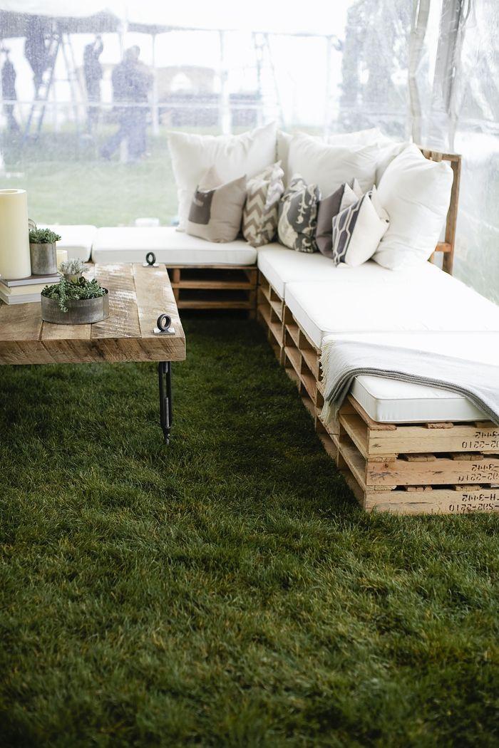 salon de jardin avec des meubles palettes récup, salon de jardin de ...