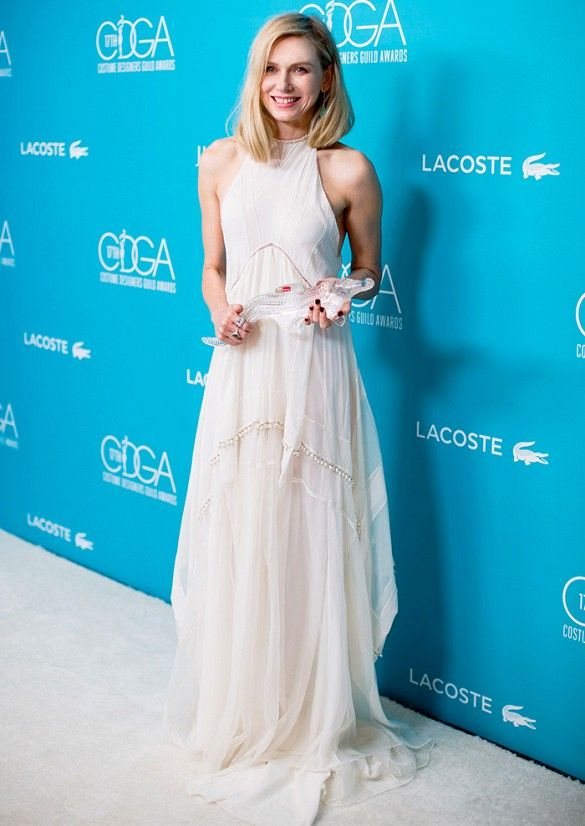 Naomi Watts wearing halter neck Altuzarra gown and an Irene Neuwirth ring at the 2015 Costume Designers Guild