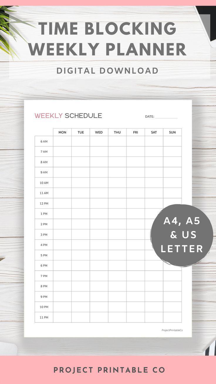 Time Blocking Weekly Planner Printable Timetable Weekly Etsy Weekly Planner Weekly Planner Printable Weekly Schedule
