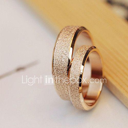 High Quality Titanium Steel Golden Dull Polish Couple Wedding Rings 2017 - $10.99