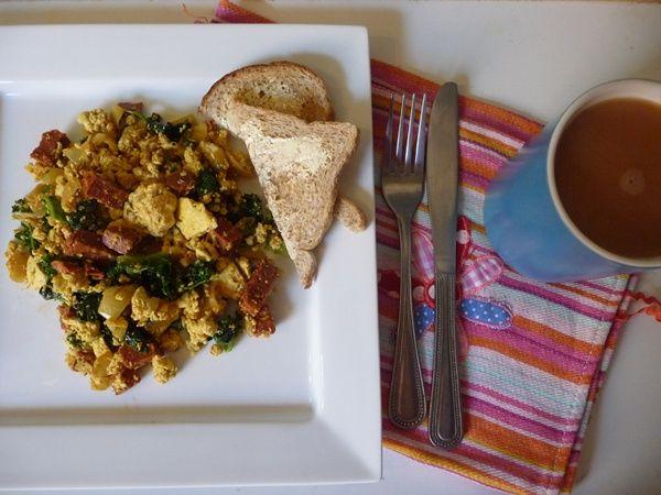 Tofu Breakfast Scramble with Vegan Chorizo, Kale & Spinach