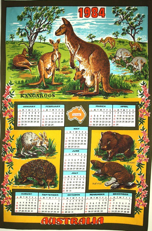 Retro Vintage Australia Calendar 1984 Kangaroo Wombat Echidna Kitsch Souvenir Tea Towel - Cotton Tea Towel - New Old Stock by FunkyKoala on Etsy
