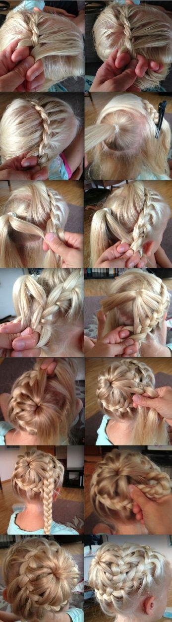 """Starburst bun""--- Would make a great idea for a flower girl hair do!"