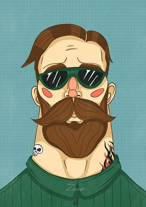 Zama Art on Behance #beard #bearded #man #barber #style #illustration #paint #cute #procreate #ipencil #art #illustrations #zama #zamart #борода #бородач