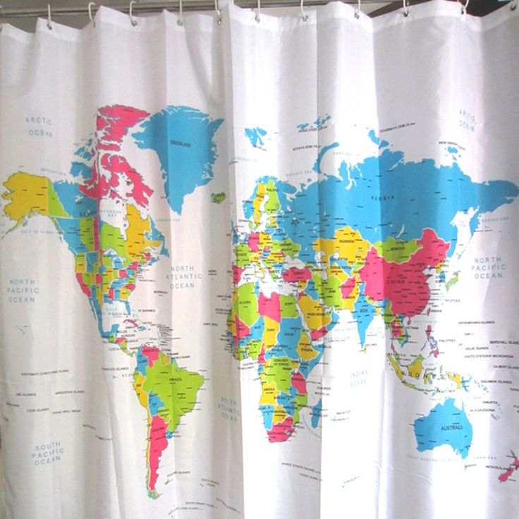 Great 1Pcs 180*180cm Waterproof Polyester Fabric World Map Pattern Creative Shower Curtain Bathroom Curtain