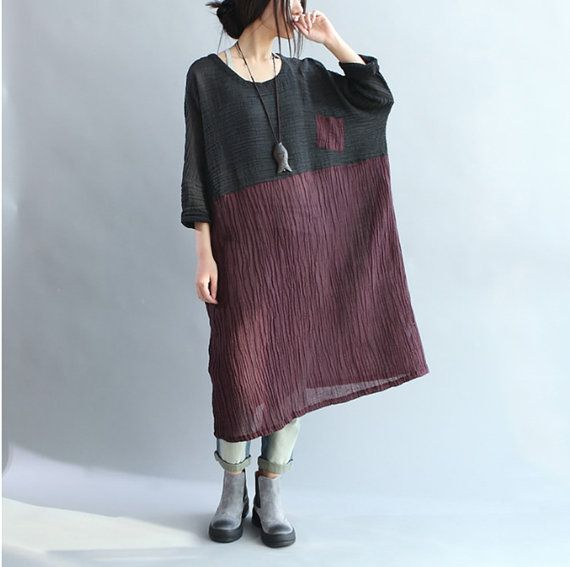 Hey, I found this really awesome Etsy listing at https://www.etsy.com/listing/227645308/womens-bat-type-loose-linen-dress