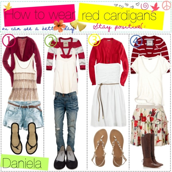 How to wear red cardigans, created by the-tip-girls-of-neverland on PolyvoreWear Red, Matching Outfit, Red Cardigans