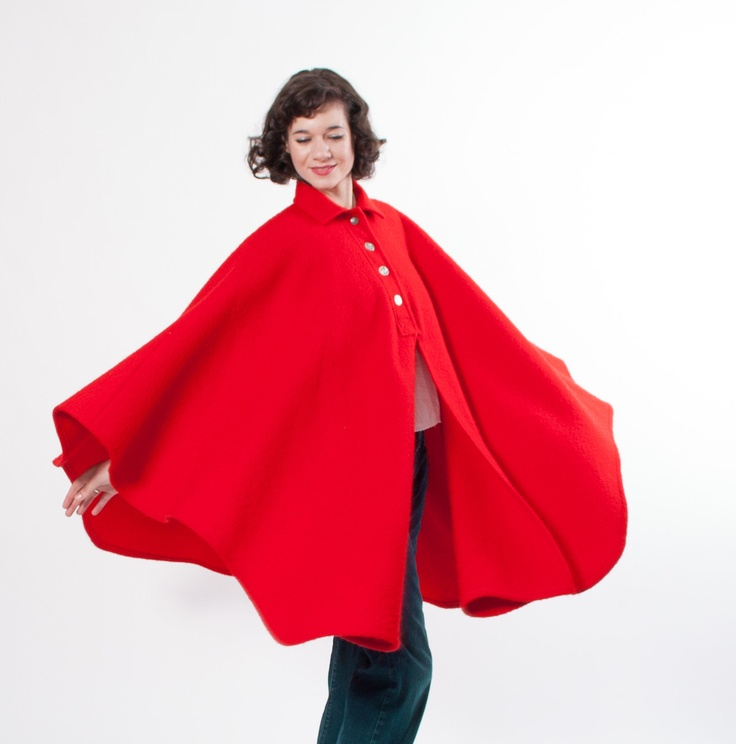 Vintage Red Cape - Wool Cape - Bright Cherry Red