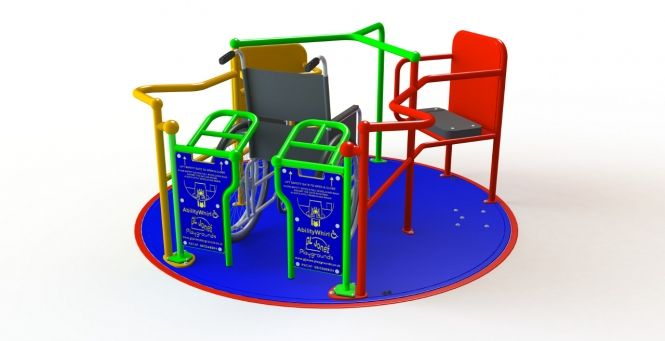 Ability SpaceWhirl 1.8m One Wheelchair Roundabout - Based on the #design of its big brother, the AbilityWhirl, this single wheelchair roundabout is a great addition to any #playground  that want to cater for #wheelchair users but where space is limited.