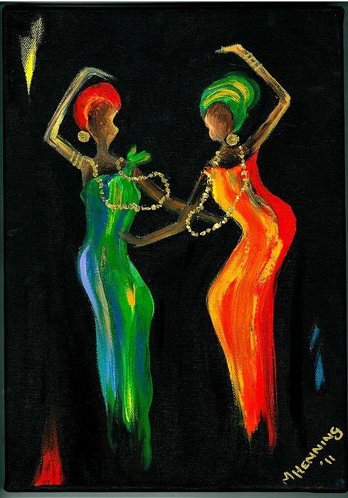 Dancing Ladies1 Painting - Dancing Ladies1 Fine Art Print - Marietjie Henning