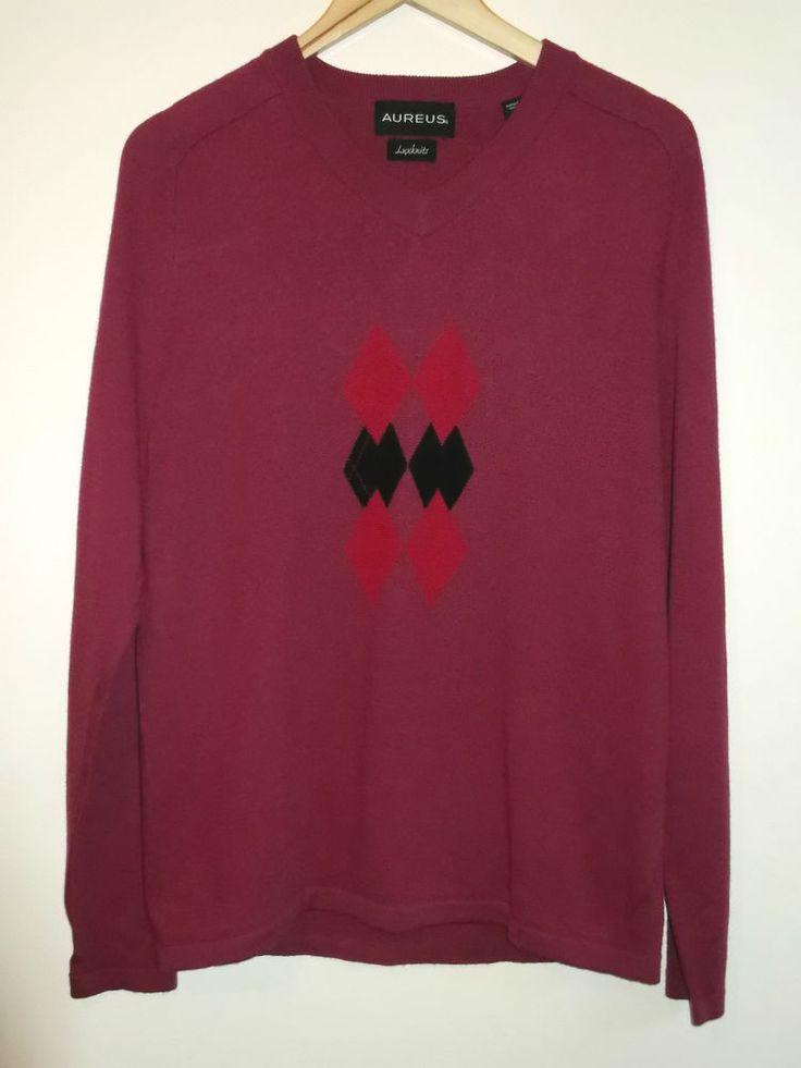 Aureus Luxknits Mens Size Large Red Sweater Jumper 100% Cashwool