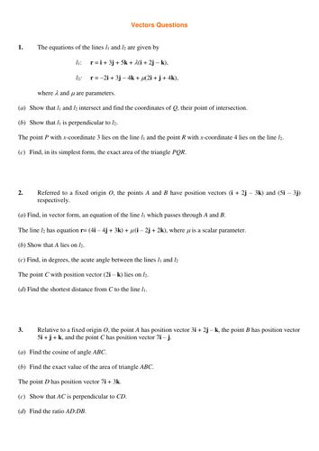 A level Maths: Vectors worksheet