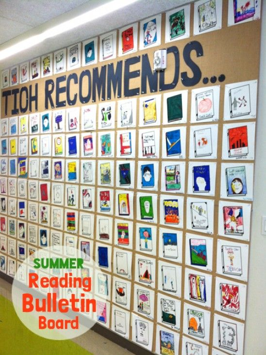 Fun back to school bulletin board. Every student submits a square of their favorite book they read this summer. Promotes love of reading and all students can get ideas for what to read next!!