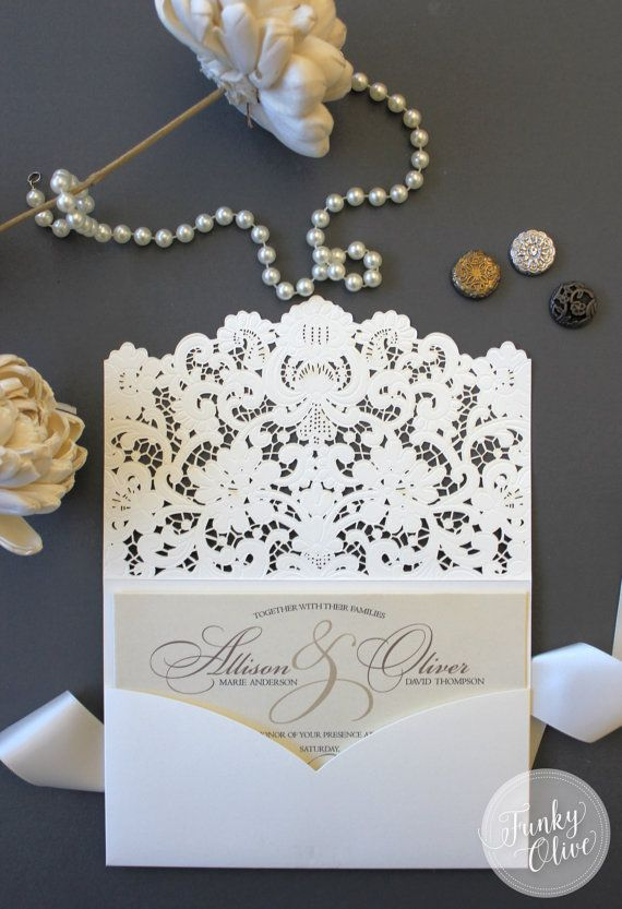laser cut wedding invitation package southern charm elegant ivory lace invitation response card custom colors available shimmer cardstock