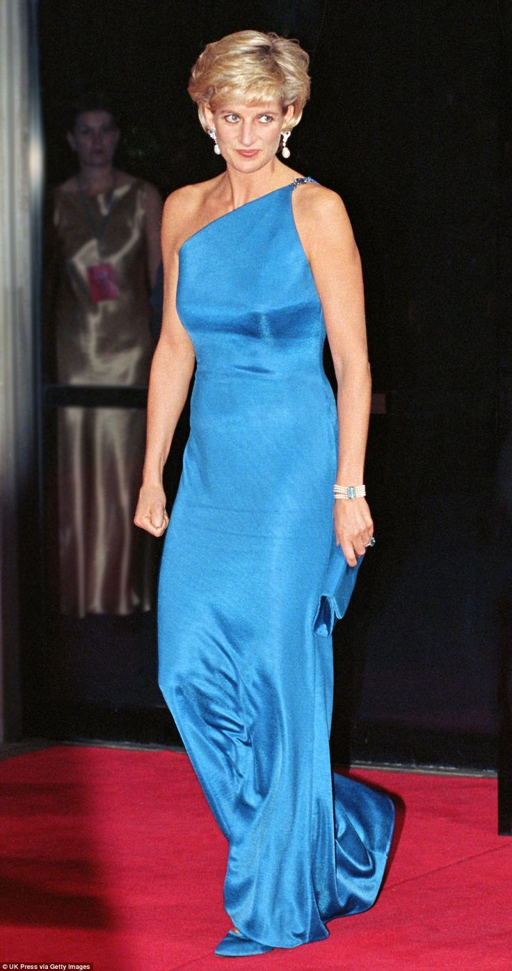 Absolute glamour: Stunning in another one-shouldered blue dress, Diana is pictured on her ...
