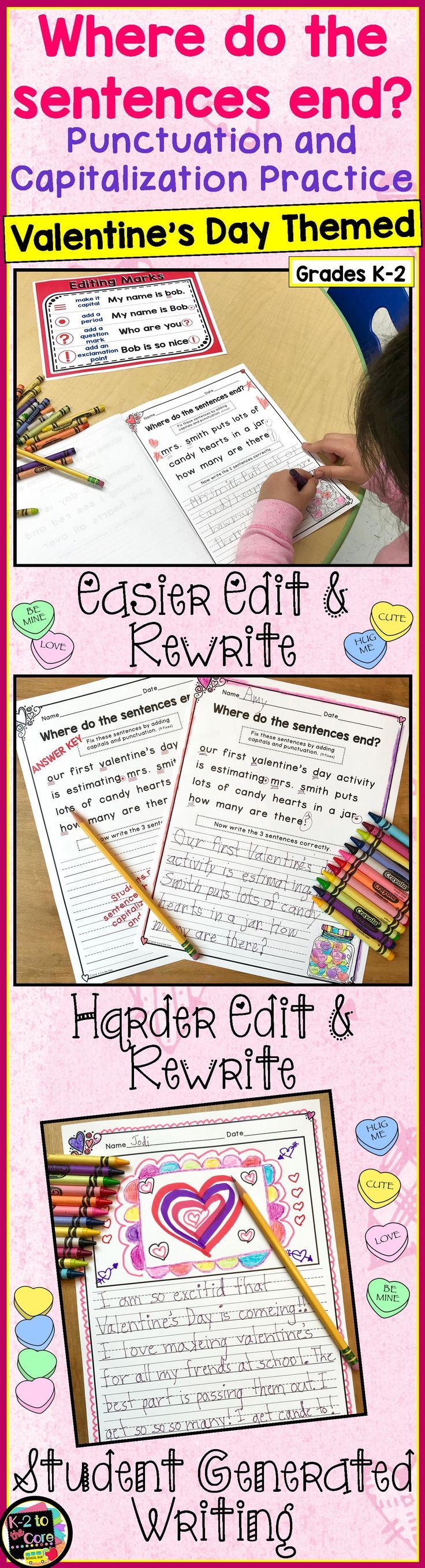 Provide your kindergarten, first, or second grade students with reading, writing, capitalization, and punctuation practice with these NO PREP differentiated (three levels) editing sheets. Each page has 2, 3, or 4 Valentine's Day themed sentences with missing capitals and punctuation. Your students' job is to figure out where the sentences end, edit the sentences, and then rewrite them with correct capitalization and punctuation. Click to find out more!