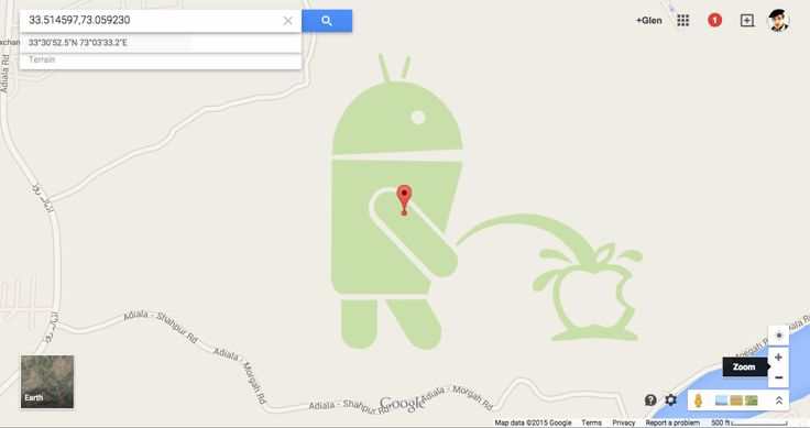 Google Maps Features a Giant Android Peeing on an Apple Logo in Rawalpindi, Pakistan