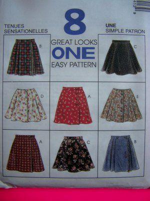 1990s Girls 7 8 10 School Uniform Skirts 8 Styles McCalls Sewing Pattern 7841