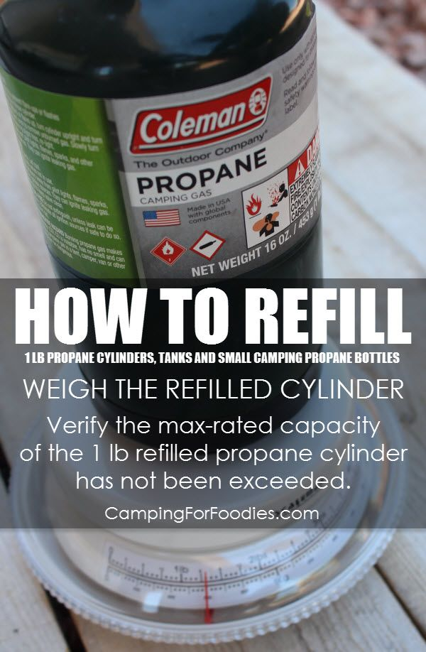 How To Refill 1 lb Propane Cylinders, Tanks And Disposable Small Camping Propane Bottles Using Propane Refill Adapters, Weigh The Refilled Cylinder. Camping Hacks, Camping Tips, RV Camping, Tent Camping, Brilliant Camping Ideas!