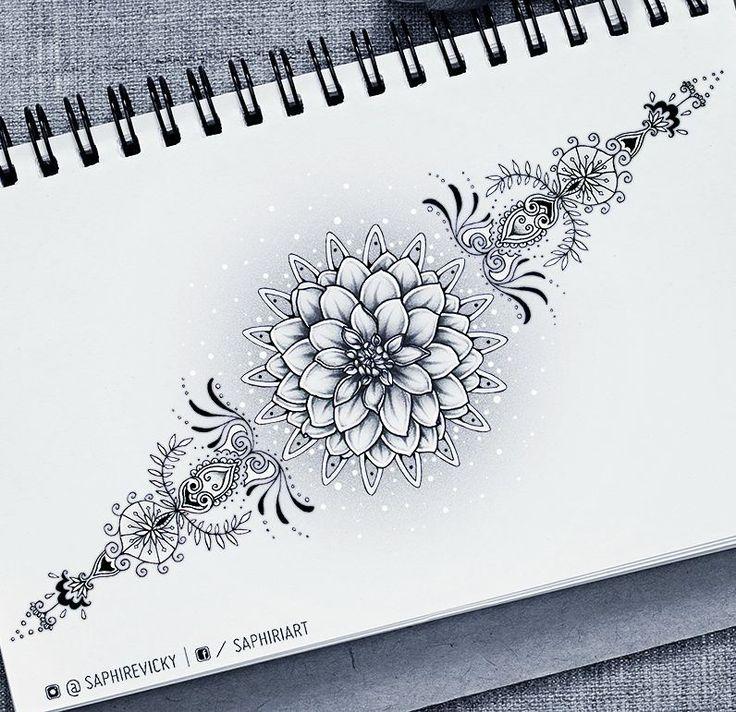 @saphiriart on instagram - dahlia flower tattoo design mandala