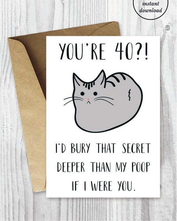 Funny 40th Birthday Cards Funny Cat Printable 40 Birthday Etsy 40th Birthday Cards Funny Printable Birthday Cards Birthday Card Printable