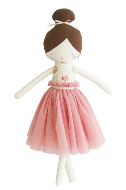 A beautiful, carefully crafted, ballet doll.  Amelie is dressed in the most beautiful soft blush tulle skirt adorned with a satin belt in a bodice of vintage gr