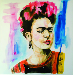 Limited edition of 50 watercolour print of Frida Kahlo, A3 signed & numbered.