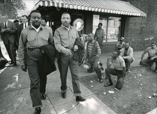 Martin Luther King Jr. and Ralph Abernathy Walk Toward Their Arrest, Birmingham, Alabama, Charles Moore, April 16, 1963