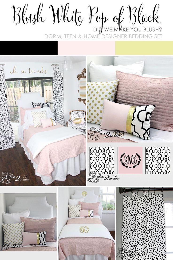 Blush Pink, White U0026 A Pop Of Black Designer Dorm Bedding Set Part 87
