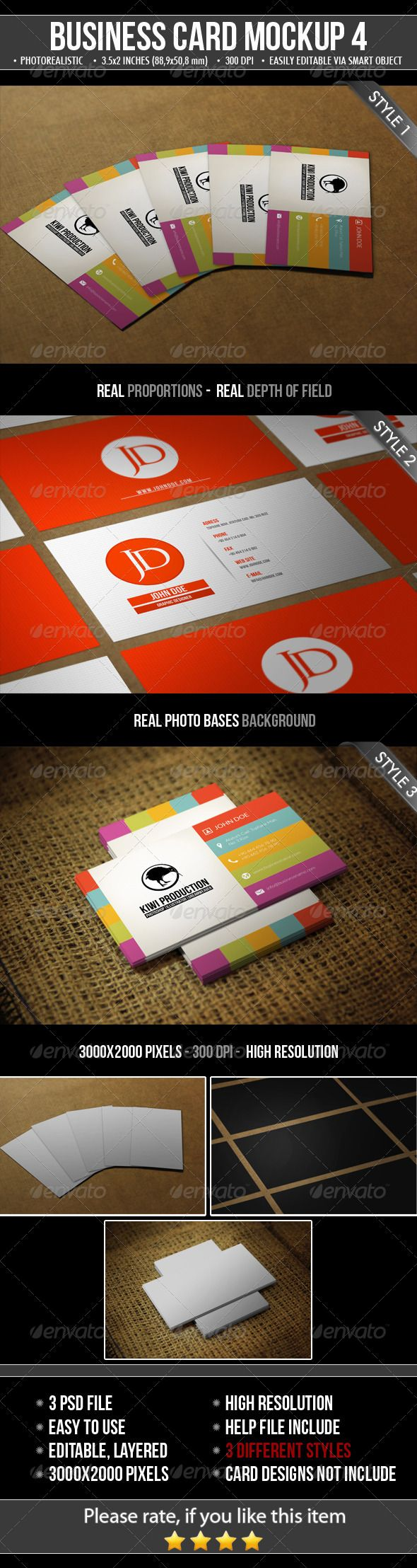 3 Realistic Business Card Mock-Up | Business cards, Mockup and ...
