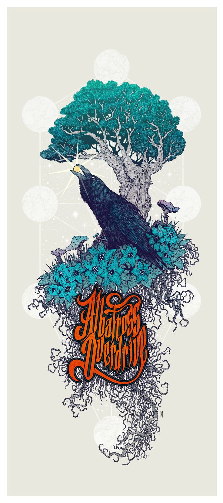 Albatross Overdrive (US) - band artwork -  color version #stonerrock #posterartwork #raven #mihaimanescu #penandink #treeoflife #symbolism