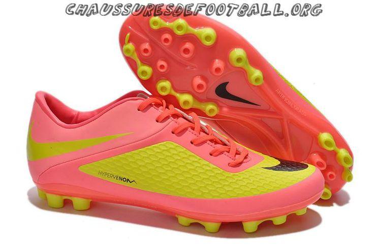 Nike Hypervenom Phelon AG Chaussures de football Vert Jaune Hot Rose Noir