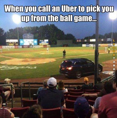 Call Uber to pick you up #funny #haha #lol #laughtard #funnypics #uber #baseball