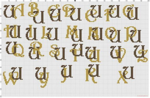 Iniciales letras entrelazadas U