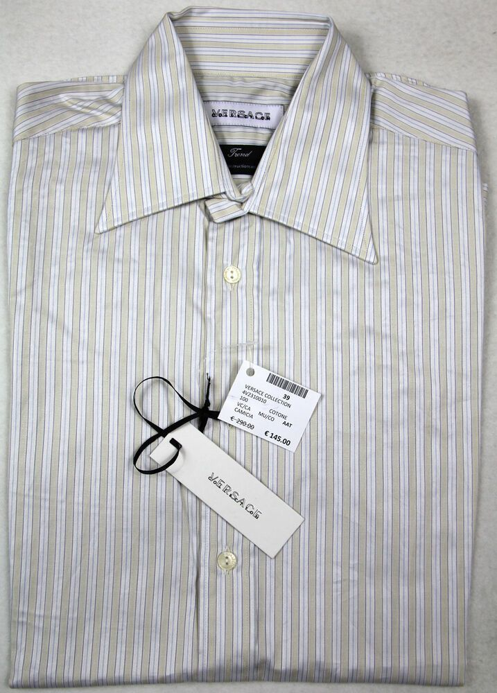 "Versace Collection /""Trend/"" Black Striped Men/'s Dress Shirt US 15 IT 38"