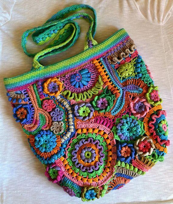 Freeform Crochet Bag Festival Cotton Bag Sunrise in a