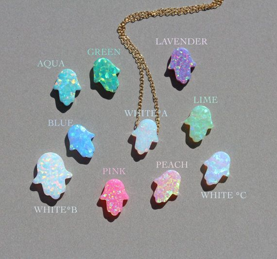 Opal hamsa necklace  hamsa necklace  good luck charm  by BubuRuby