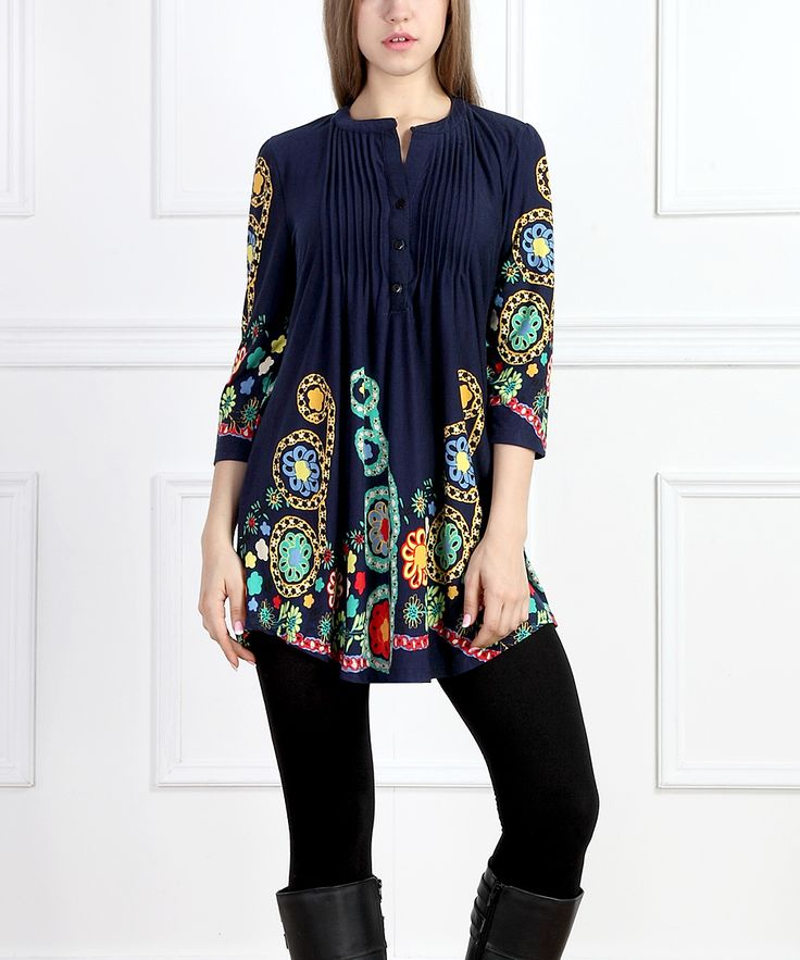 Navy Garden Notch Neck Tunic, cute shirt, vibrant details, nice for spring and winter, nice details, clothing, clothing options