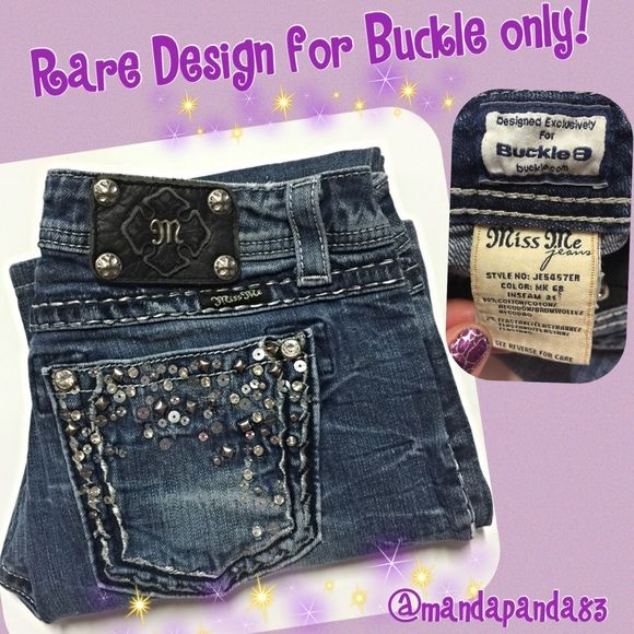"""Miss Me Jeans Exclusively made for Buckle EUC These are very hard to part with, but we need the money. These Miss Me jeans were exclusively made for Buckle; so you know  how amazing the quality is! They created special designs for those for Buckle. These have been expertly hemmed to 28""""-29"""". Definitely for the short Miss Me fans that can only wear capris! Like me!! Price is firm unless bundled. Thank you! Miss Me Jeans Boot Cut"""