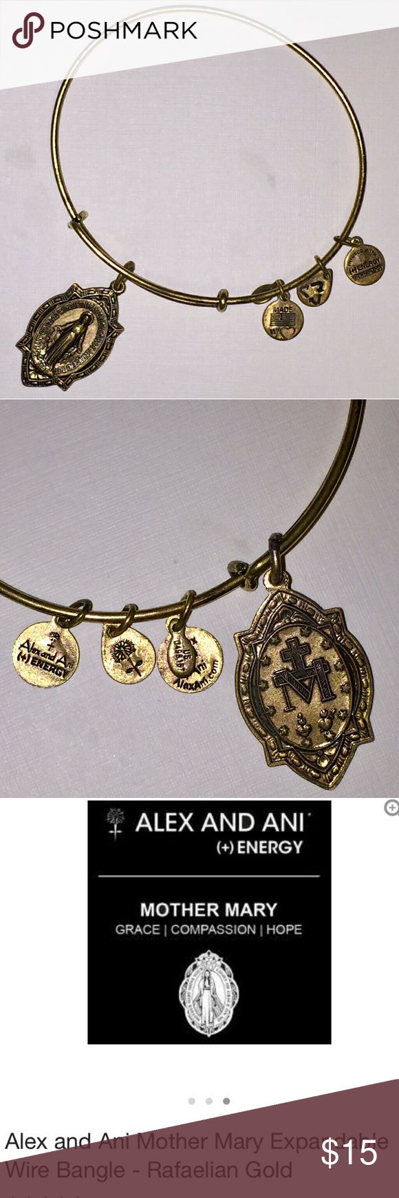 ALEX AND ANI MOTHER MARY GOLD BRACELET ALEX AND ANI Mother Mary Faux gold bracelet. Worn but in good condition. Still in stores now for over $28.00 Alex & Ani Jewelry Bracelets