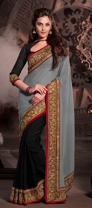 saree #Black #Grey #
