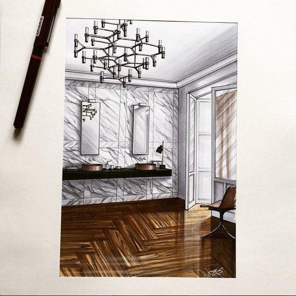 Interior sketches by our teacher elena ivannikova on for Interior design sketch images