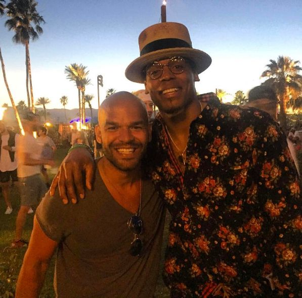 """So this is how It went down.. Cam Newton says """"My brother, I love your work. Can we take a picture? """" and I responded """" Are you kidding me ? 😳... Can I TAKE a picture with YOU? """" .... #MutualRespect #coachella @cameron1newton"""