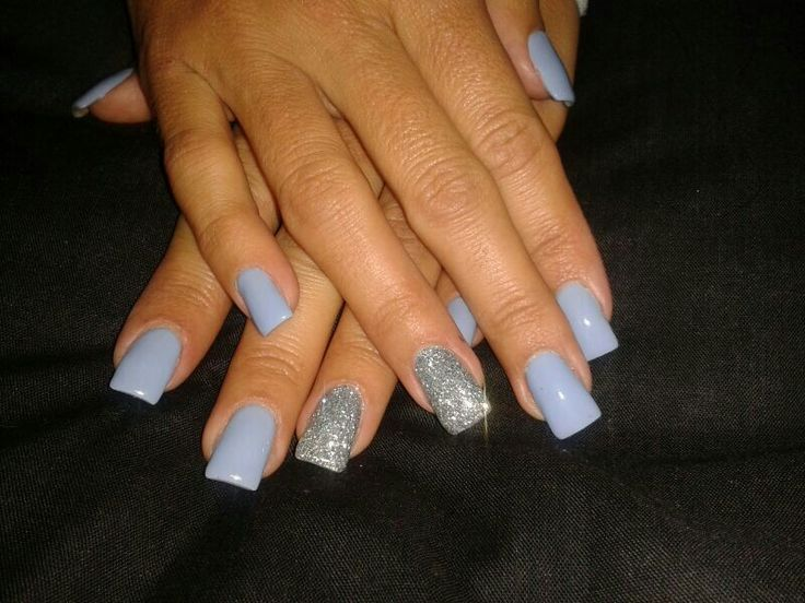 Pastel blue glitter nails