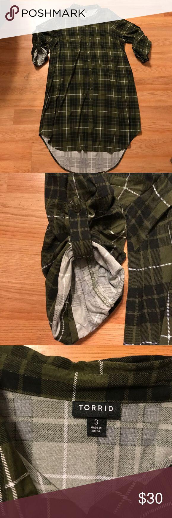 Torrid Plaid Dress EUC, Torrid, Size 3, Olive and Black Plaid dress with high/LL bottom. torrid Dresses High Low