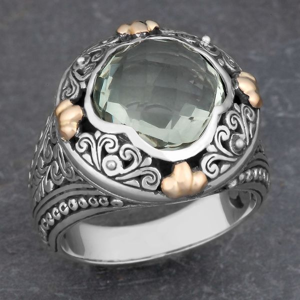 18k Yellow Gold and Sterling Silver Prasiolite Floral Cawi Ring (Indonesia)