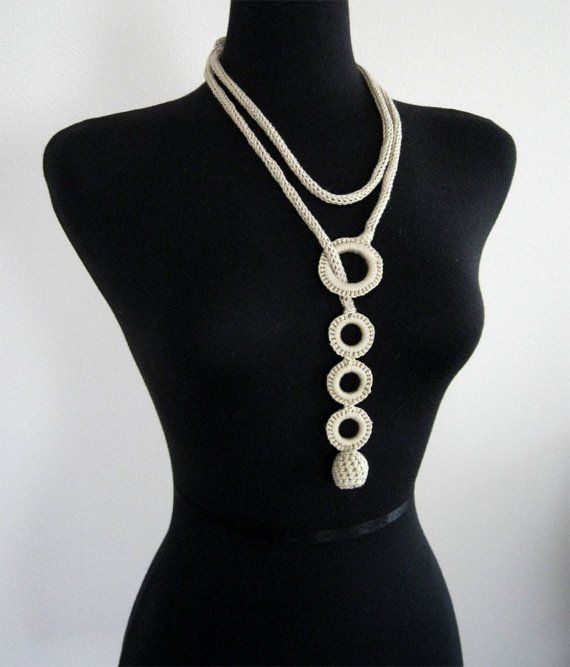 Light Beige Knitted Necklace with Crocheted Bead and Rings; multi-style necklace.