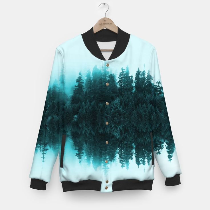 Cloudy Forest Baseball Jacket, Live Heroes