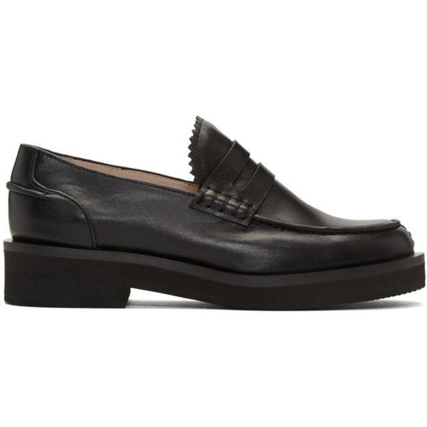 Jil Sander Navy Black Leather Galaxy Loafers (€335) ❤ liked on Polyvore featuring shoes, loafers, black, loafer shoes, galaxy print shoes, planet shoes, black shoes and real leather shoes